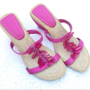 ENZO ANGIOLINI Pink Sandal Wedges W/ Rope Footbed